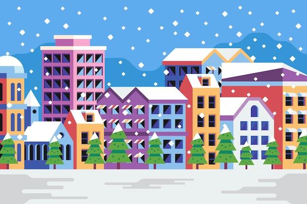 Kerst stad platte ontwerp achtergrond