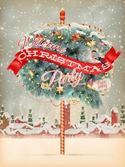 Kerst stadsgezicht en sneeuwval met tekstballon.