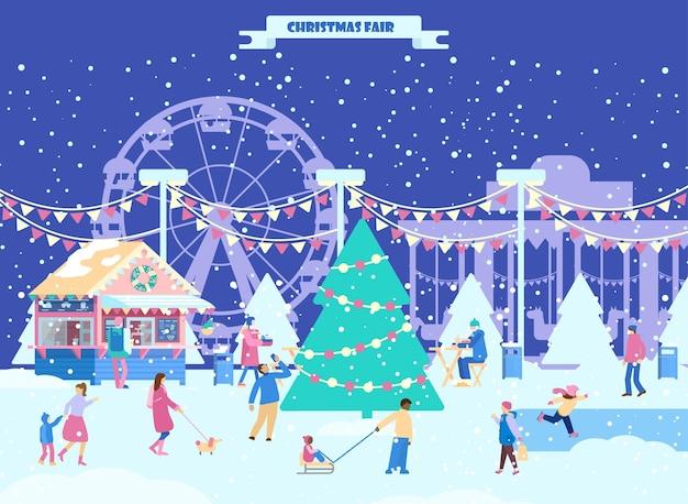 Kerst stadspark met kleine mensen rond de kerstboom kerstmarkt