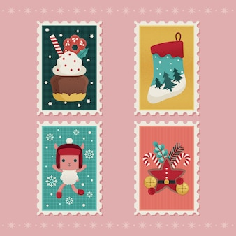Kerst stempel pack plat ontwerp