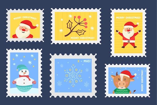 Kerst stempel vakantie stickers in de hand getekende ontwerp postzegels set kerst poststempels