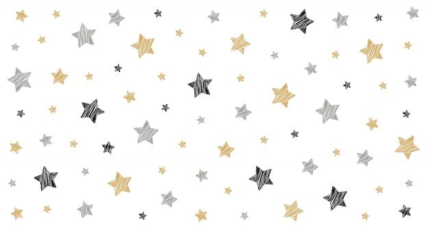Kerst sterren krabbel tekening kaart witte geïsoleerde achtergrond