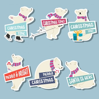Kerst stickers collectie met ijsberen en wensen