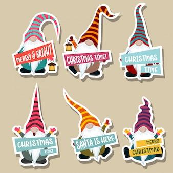 Kerst stickers collectie met kabouters