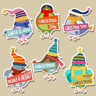 Kerst stickers collectie met vogels