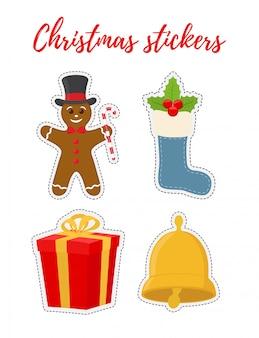 Kerst stickers in vlakke stijl cartoon.