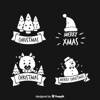 Kerst stickers silhouet pack