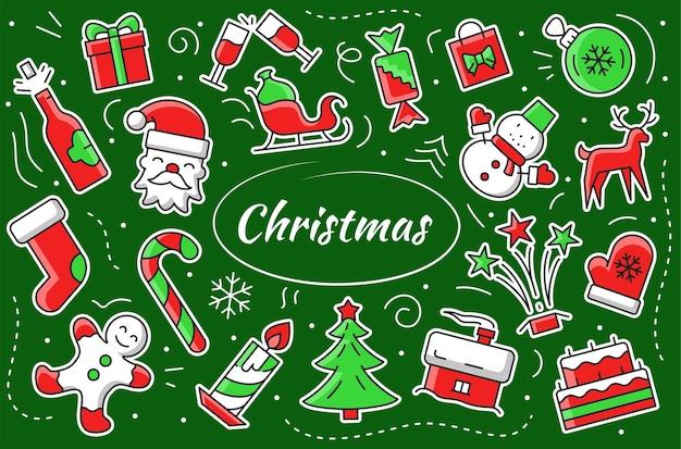 Kerst stickerset. nieuwjaar vectorelementen en objecten. leuke illustratie winter hygge symbolen.