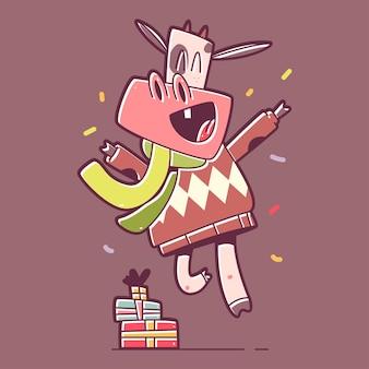 Kerst stier springen met geschenkdoos stripfiguur geïsoleerd op de achtergrond.