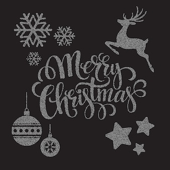 Kerst stippen elementen, wenskaart
