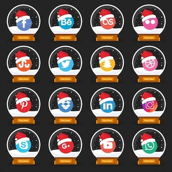 Kerst style social media icon pack