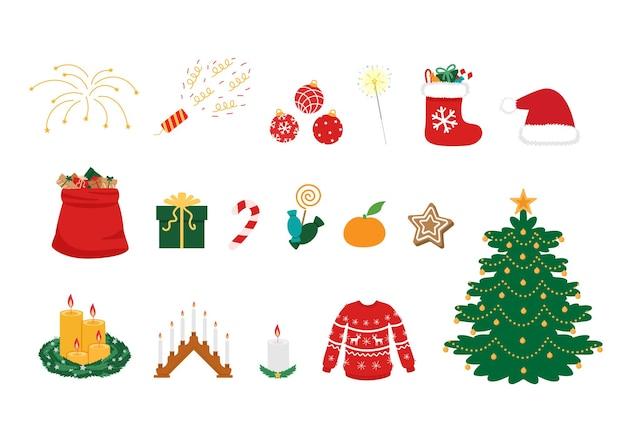 Kerst symbolen grote reeks. traditionele kleurrijke kerstattributen.