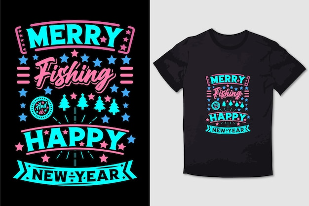 Kerst t-shirt ontwerp vrolijke visserij en een gelukkig nieuwjaar