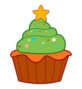 Kerst tekenfilms illustraties. kersttaart clipart vectorillustratie