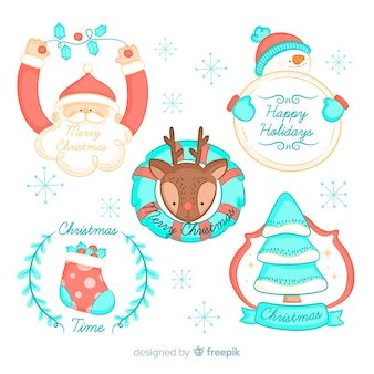 Kerst tekens badge collectie