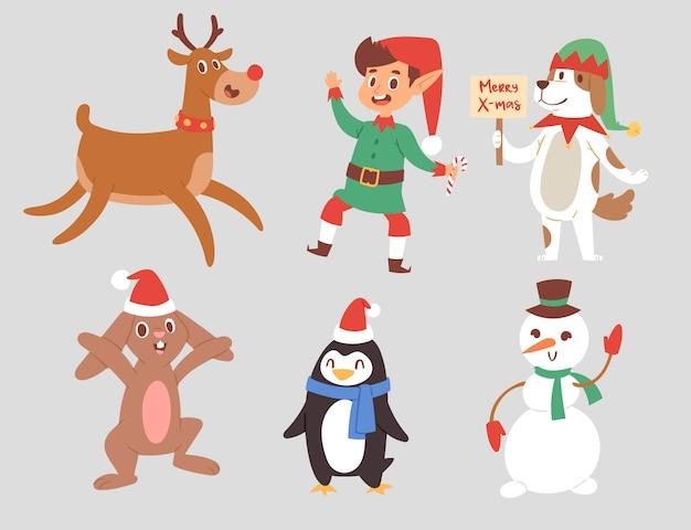 Kerst tekens schattige cartoon rendieren, xmas konijn, santa hond nieuwjaar symbool, elf kind jongen en pinguïn individuele kenmerken illustratie