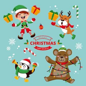 Kerst tekensverzameling in plat ontwerp