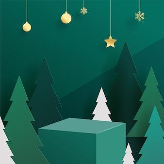 Kerst thema podium illustratie