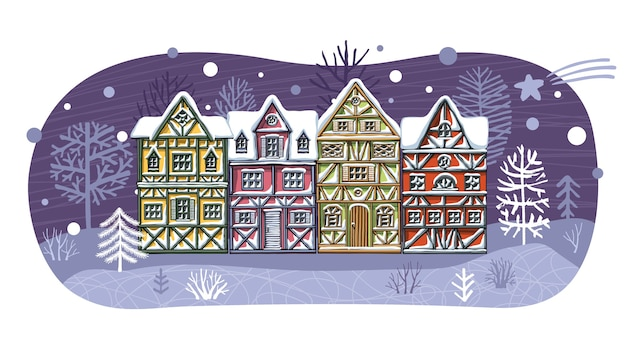 Kerst thema stad illustratie