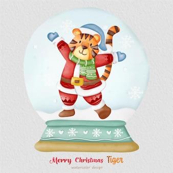 Kerst tijger aquarel illustratie, met een papieren achtergrond. voor ontwerp, prints, stof of achtergrond. kerst element vector.