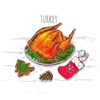 Kerst turkije schets illustratie