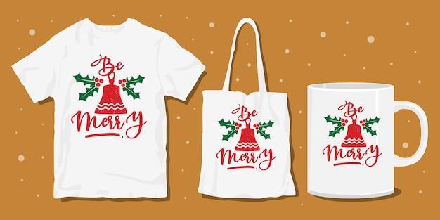 Kerst typografie belettering t-shirt merchandise design