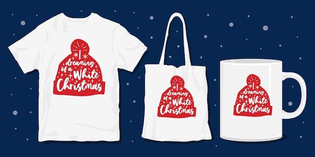 Kerst typografie belettering voor merchandising