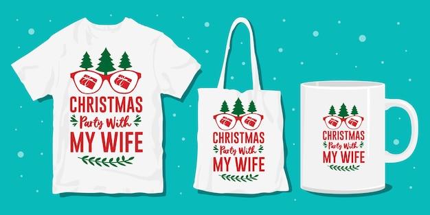 Kerst typografie citeert ontwerp voor t-shirt en koopwaar