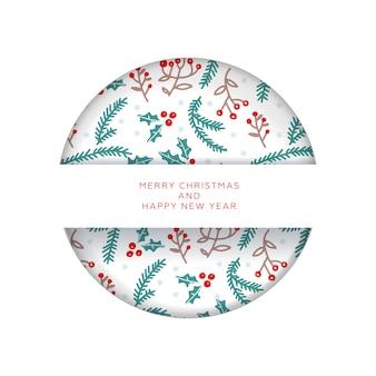 Kerst uitnodiging of wenskaart in papier gesneden stijl. vrolijk kerstfeest en nieuwjaar. patroon met takken en bessen.