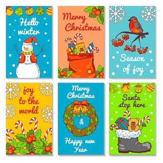 Kerst uitnodigingskaarten. illustraties in handgetekende stijl. kerstaffiche en banner groeten xmas