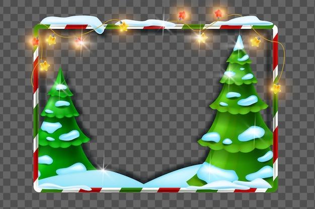 Kerst vakantie 3d frame vector nieuwjaar decoratie achtergrond sneeuw drift lichte garland