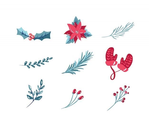 Kerst vakantie decoratie pictogrammen instellen met maretak boog sneeuwvlok