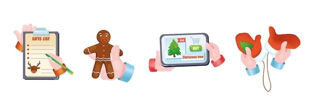 Kerst vakantie grafisch concept handen set. menselijke handen met cadeaulijst op tablet, peperkoek, wanten, online app van vakantiewinkel. kerst symbolen. vectorillustratie met 3d-realistische objecten
