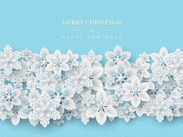 Kerst vakantie ontwerp. 3d decoratieve sneeuwvlokken met schaduw en parels. blauwe gestippelde achtergrond met begroeting. vector illustratie.