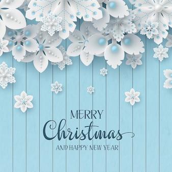 Kerst vakantie ontwerp. 3d decoratieve sneeuwvlokken met schaduw en parels op houten textuurachtergrond met begroetingstekst. vector illustratie.