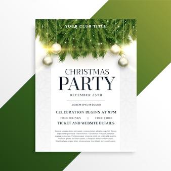 Kerst vakantie partij flyer ontwerpsjabloon