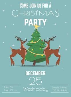 Kerst vakantie partij poster of sjabloon folder