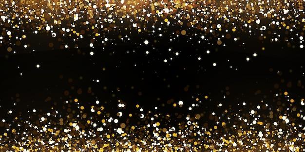 Kerst vallende gouden lichten. magisch abstract goudstof en schittering.