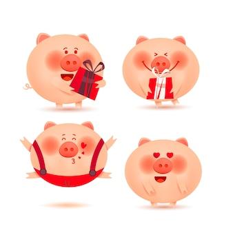 Kerst varkens. set van vrolijke en schattige biggetjes