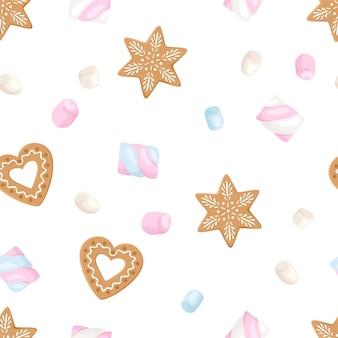 Kerst vector achtergrond met cartoon peperkoek en marshmallows