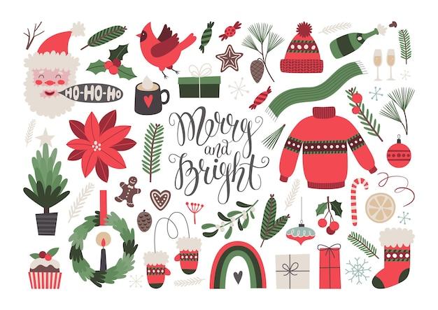 Kerst vector clipart set vrolijk en helder belettering kerst wenskaartsjabloon