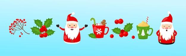 Kerst vector collectie. kerstman, hulstbes, lijsterbes, mokken met warme chocolademelk, nieuwjaarsset, vakantiepictogram, winterillustratie