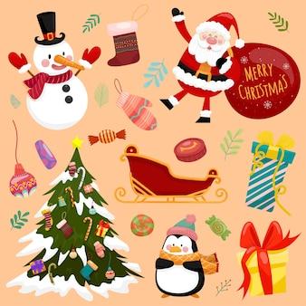 Kerst vector iconen nieuwjaar decoratie illustratie van xmas christenen
