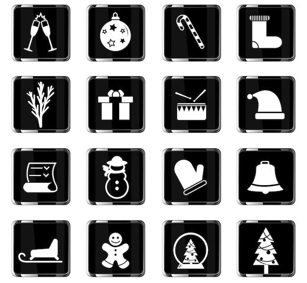 Kerst vector iconen voor gebruikersinterface ontwerp