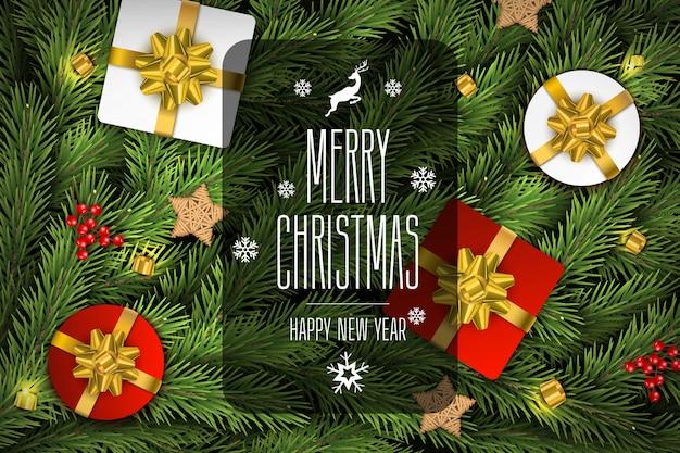 Kerst vector samenstelling achtergrond van sparentakken.