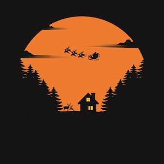 Kerst vector wenskaart. kerstman met rendieren.