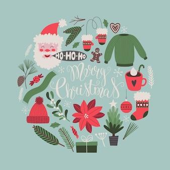 Kerst vector wenskaart met belettering en traditionele vakantie symbolen