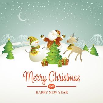 Kerst vectorillustratie met sneeuwpop eps 10 Gratis Vector