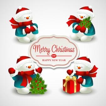 Kerst vectorillustratie met sneeuwpop eps 10