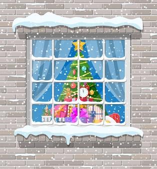 Kerst venster in bakstenen muur illustratie